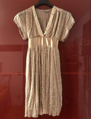 Glamouröses, goldenes Kleid von Zara Woman Gr. S mit Pailletten u. Miniperlen