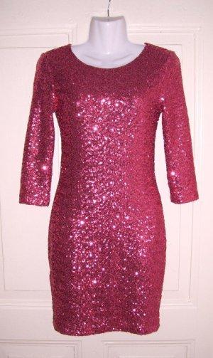 Glamouröses himbeerfarbenes Kleid von TFNC London Pailletten Party Bodycon sexy