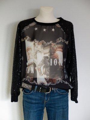 glamouröses Sweatshirt mit Pailletten von Mango, teils transparent