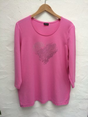 *Glanzherz* Weiches Shirt in rosa-pink, Glanzsteine, Gr. 46