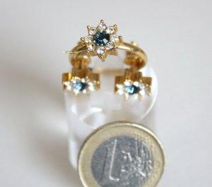 Glas Stein Blume Schmuckset variabler Ring und passende Ohrringe