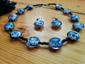 Glasperlen Kette Collier und Ohrhänger 2-tlg. Set aus Mexiko blau weiß schwarz mit Schmucktäschchen NEU