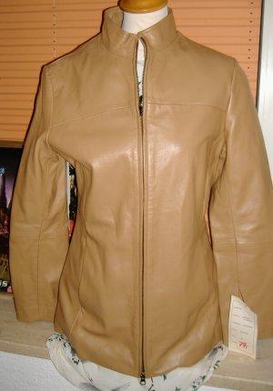 Glatt-Lederjacke beige + Reißverschluss