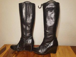 Glattleder Keilabsatz Stiefel