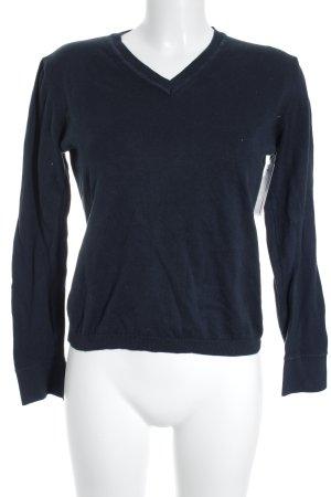 GLENFIELD V-Ausschnitt-Pullover dunkelblau klassischer Stil