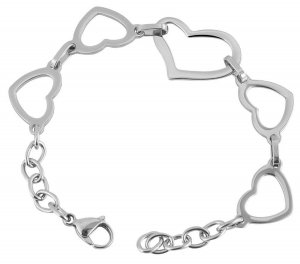 Gliederarmband aus Edelstahl silberfarbig Herz Armband