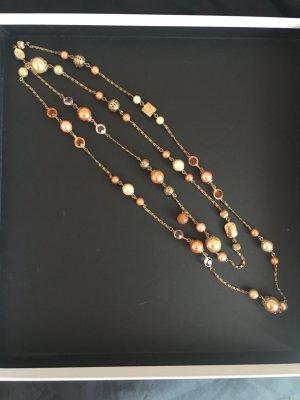 Gliederkette altgold perlen Halskette Perlenkette Statement edel elegant Glassteine Gold altrosa beige  romantisch feminin rosa