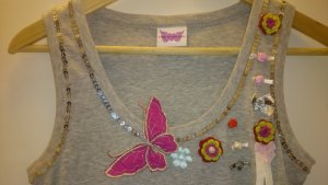 Glitter Pailletten Top mit Badges