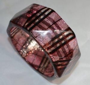 Glittering  'Tartan Pattern' Bangle In Pink/Black