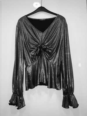 SheIn Wraparound Blouse silver-colored-black