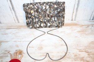 Glitzer clutch mit Pailletten Silber umhängetasche party