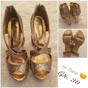 Sandales à plateforme doré