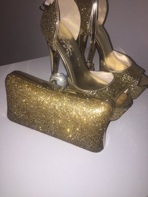 Glitzer High heels + Handtasche ( Clutch)