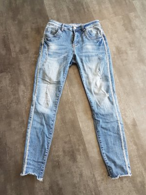Amisu Pantalon argenté-bleu azur