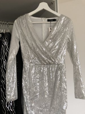 Mini Dress white-silver-colored