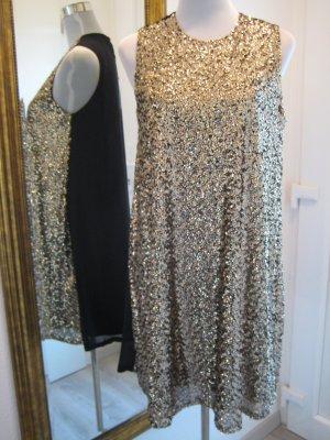 Glitzer Kleid schwarz gold Gr. XL