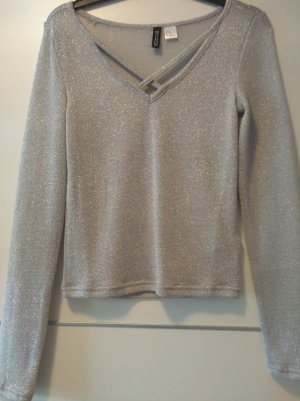 H&M Divided Crochet Shirt silver-colored