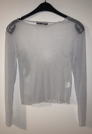 Brandy & Melville Mesh Shirt light grey-silver-colored