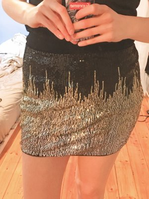 Glitzer Pailetten Mini Rock High Waist