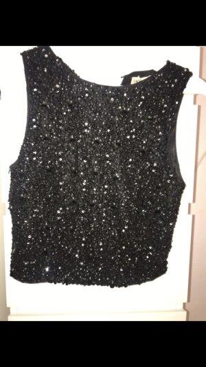 Lace & Beads Top recortado negro