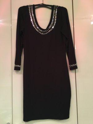 Glitzer-Pailletten Kleid in schwarz mit tiefem Rücken Ausschnitt