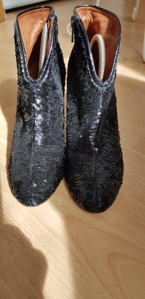 Glitzer Paletten Stiefelte schwarz