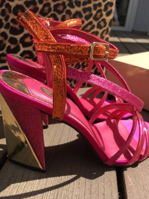 River Island Strapped Sandals neon orange-magenta synthetic material