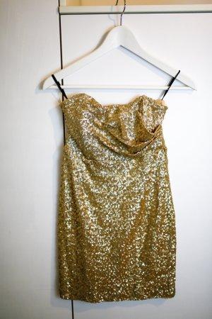 Glitzer Sequin Mini Kleid Gold