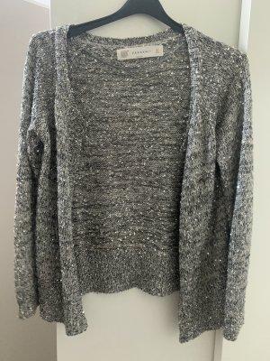 Zara Knit Blouse Jacket grey-silver-colored