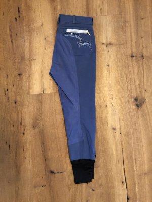 Pantalón de equitación azul neón-color plata