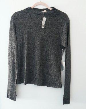 Forever 21 Camisa larga negro-color plata
