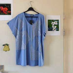 Oversized shirt azuur-zilver Polyester