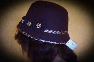 Chapeau cloche brun foncé-beige tissu mixte