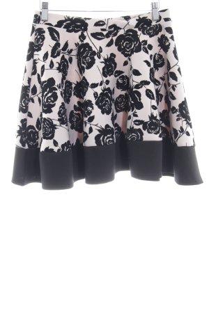 Jupe évasée beige-noir motif floral élégant