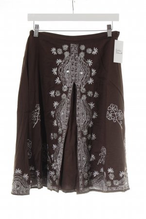 Falda acampanada marrón oscuro-color plata Adornos de estrás