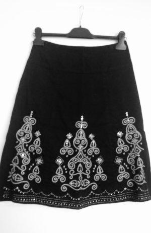 Falda acampanada negro-color plata Algodón