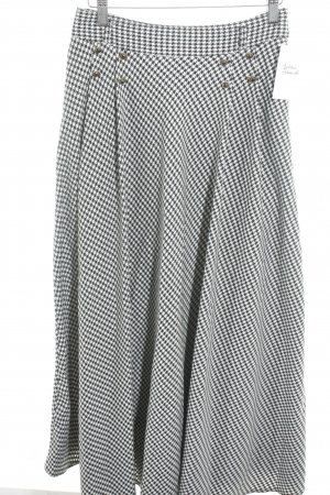 Falda acampanada blanco-negro estampado de pata de gallo estilo clásico