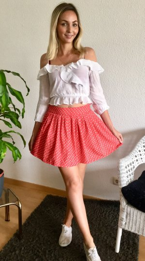 Mango Flared Skirt red-white