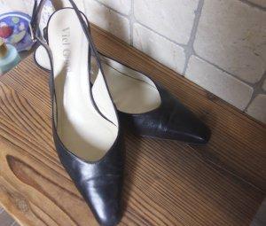 Glück Schuhe, Pumps, Riemchen Pumps, schwarz, innen und außen Leder,