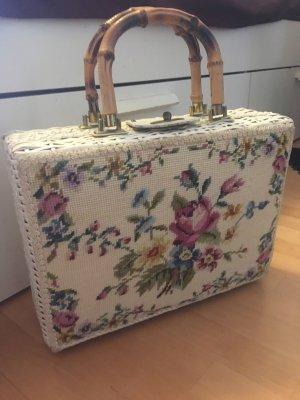 Gobelin Tasche Shopper Korb Bambushenkel Köfferchen Rarität Unikat top Zustand neuwertig