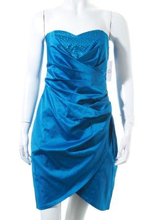 Goddess Cocktailkleid stahlblau Glitzersteinverzierung