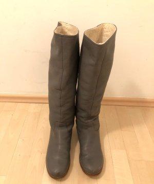 Görtz 17 Stiefel Boots 40 grau gefüttert flach Echtleder Herbst Winter