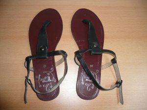Görtz 17 T-Steg Sandalen Zehentrenner mit Fessel Riemchen Leder schwarz Gr 39