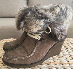 Görtz Shoes 37 Echtleder Keilabsatz Stiefel Leder Plateau Stiefeletten Faux Fur