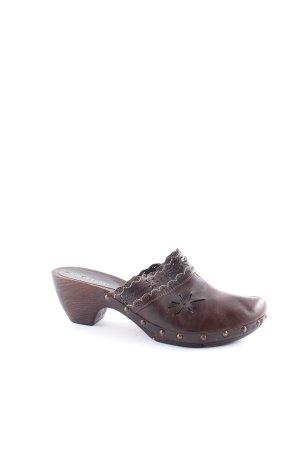 Görtz Shoes Absatz Pantoletten dunkelbraun-weiß Blumenmuster Country-Look