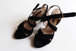 Görtz Strapped High-Heeled Sandals black-gold-colored suede