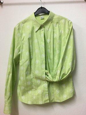 Gössl-Bluse in grün mit weißen Blumen