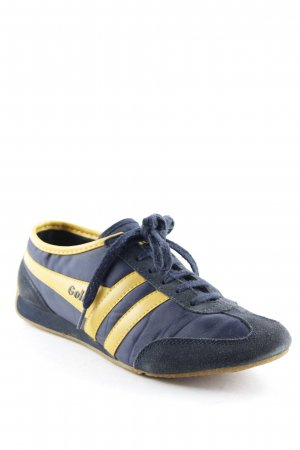 Gola Schnürsneaker dunkelblau-gelb Streifenmuster sportlicher Stil