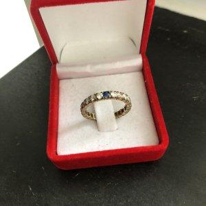 Gold 333 Ring Zirkonia Saphire Gr. 17