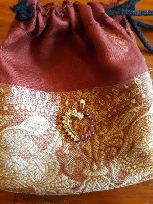 Gold 585 Herzanhänger mit Brillanten und Rubinen